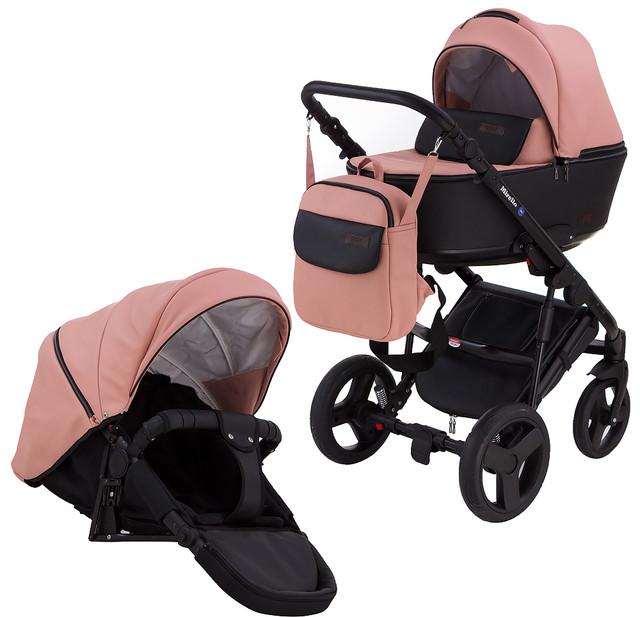 Детская коляска универсальная 2 в 1 Bair Leo джинс-кожаG-16(Беир Лео)