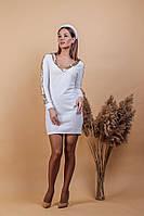 Мягенькое нарядное платье - свитерс окантовкойматовойпайеткой (42-58)