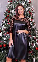 Женское Кожаное Платье с гипюром БАТАЛ, фото 1