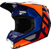 Детский мотошлем Fox YTH V1 PRIX Helmet, оранжевый/синий, YS