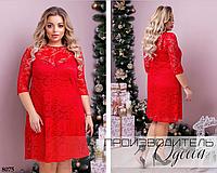 Платье гипюровое свободного кроя по колено 46-48,50-52,54-56,58-60,62-64, фото 1