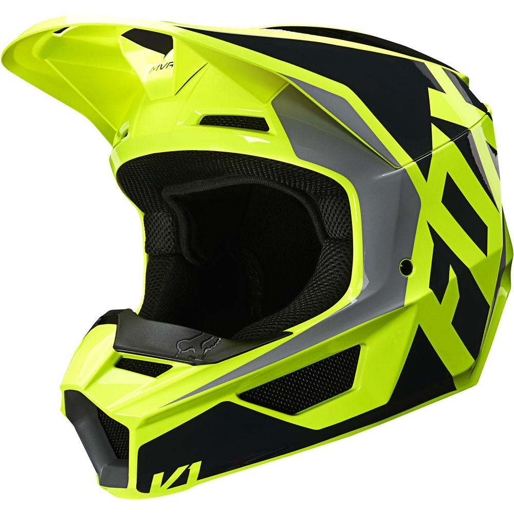 Детский мотошлем Fox YTH V1 PRIX Helmet черный/желтый, YM