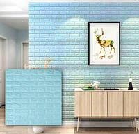 Самоклеящиеся 3d панели для стен обои кирпич бирюзовый Sticker Wall 700x770x7мм