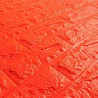 Самоклеящиеся 3d панели для стен обои кирпич оранжевый Sticker Wall 700x770x7мм. Сертифицированные
