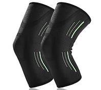 Наколенник эластичный для бега и занятий спортом AB022 черный с зелеными полосами