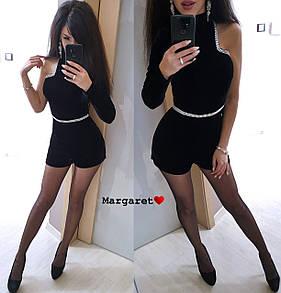 Бархатный женский комбинезон с одним рукавом и декором 9ks409