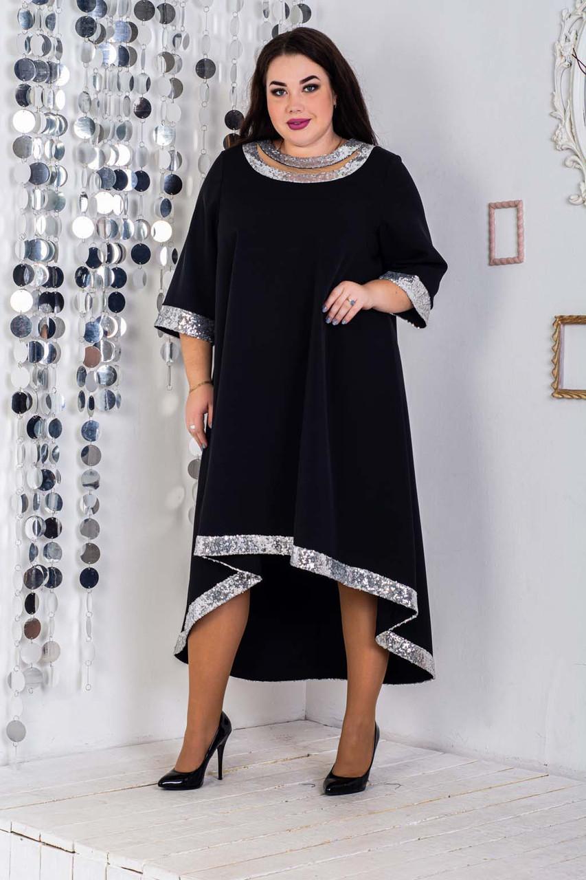 Асимметричное платье большого размера с вставками пайетки 10ba471