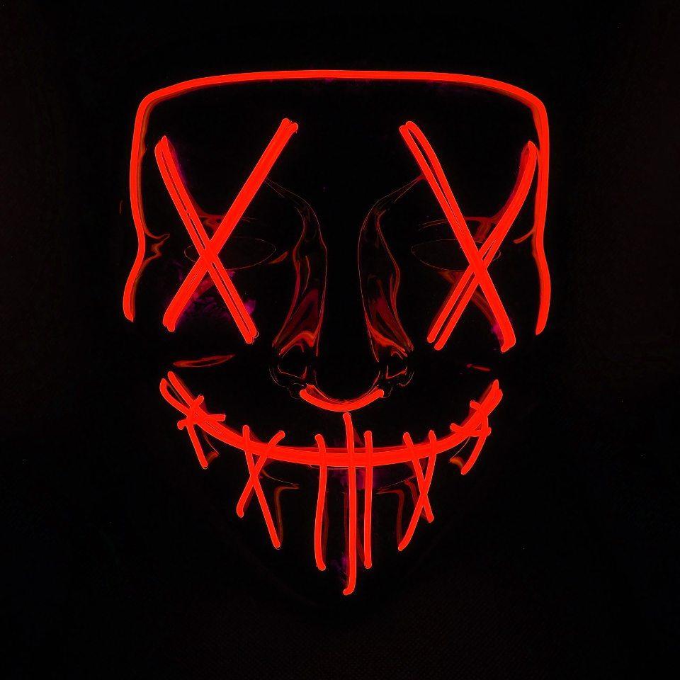 Неоновая маска судная ночь SoFun LED светящаяся красная