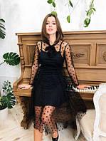 Черное платье сетка в горошек нарядное новогоднее платье