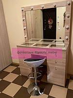 Стол для визажиста со столешницей-витриной, цвет - дуб сонома. 1