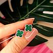 Серебряные гвоздики Клевер с малахитом - Брендовые серьги Клевер зеленые, фото 5