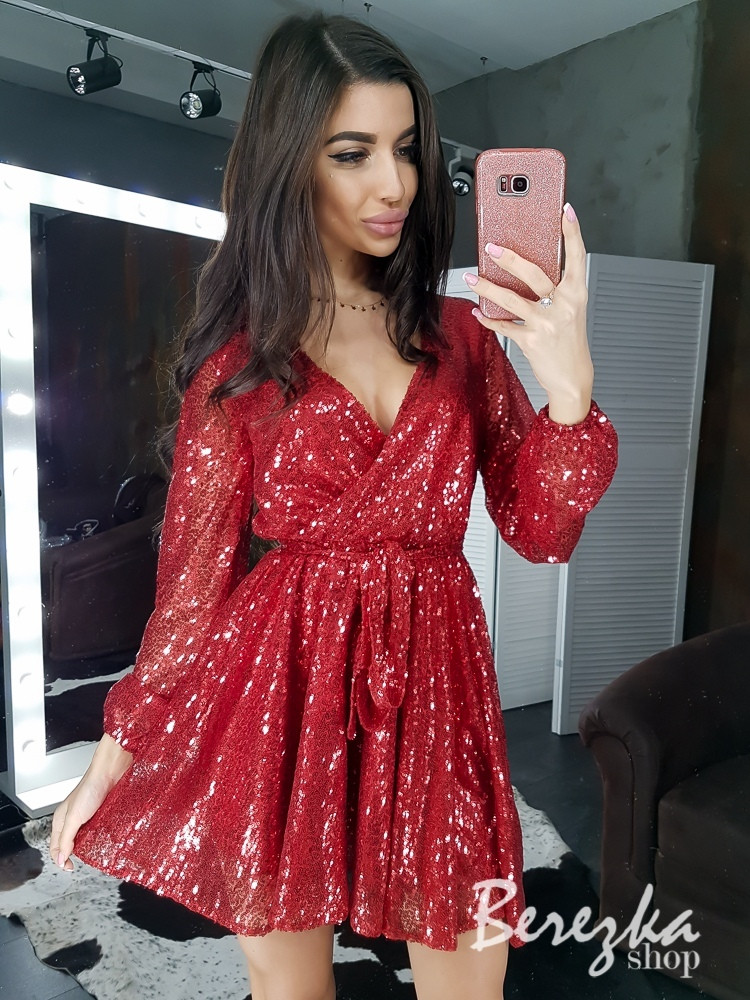 Платье из пайетки с верхом на запах и расклешенной юбкой 66ty758