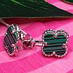 Серебряные гвоздики Клевер с малахитом - Брендовые серьги Клевер зеленые, фото 3
