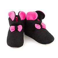 Домашние тапочки с ушками Микки 38-39 Черно-розовые (Tmickey_black_pink_38_39)