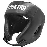 Кожаный защитный боксерский шлем открытый (натуральная кожа).