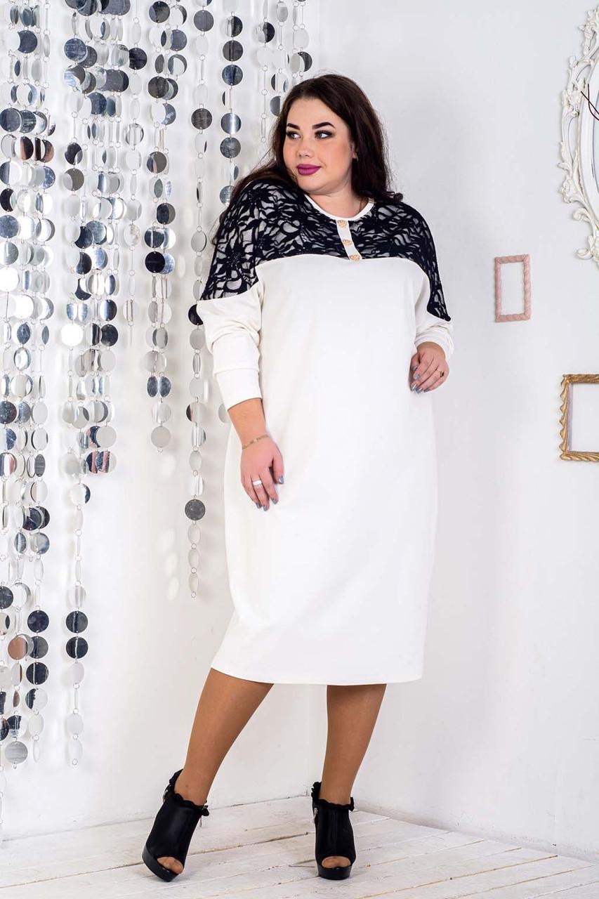 Трикотажное прямое платье в больших размерах длиной миди 10uk472