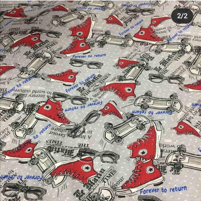 купить ткань стрейч-кулир кеды красные в нашем магазине
