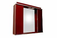 Дзеркало 85см для ванної кімнати з підсвічуванням, розеткою і шафками Norvey бордо