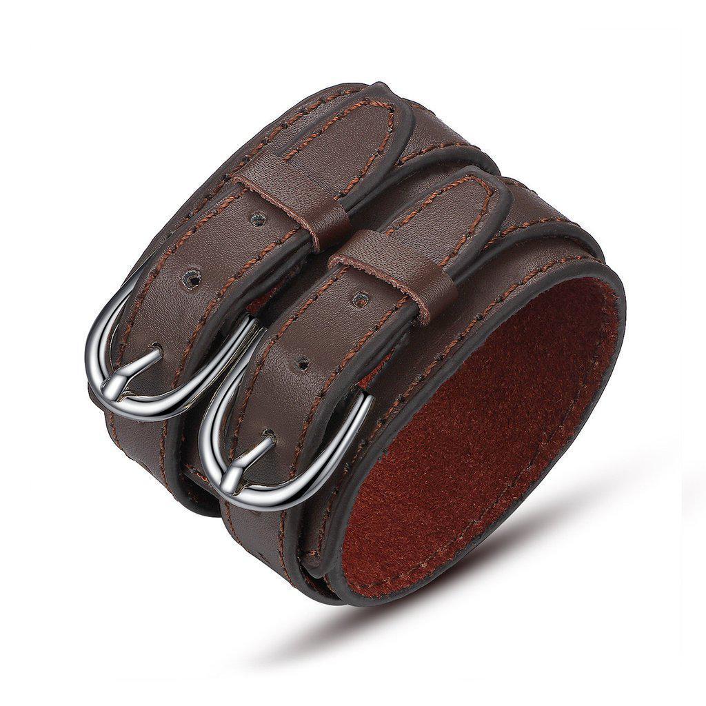 Кожаный браслет коричневый с двумя округлыми пряжками