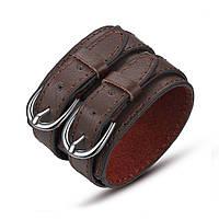Кожаный браслет коричневый с двумя округлыми пряжками, фото 1