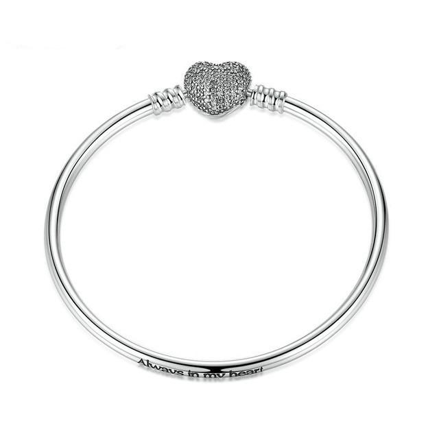 Серебряный браслет основа гладкий Pandora Style (стиль Пандора) с сердечком 925 проба - 17см