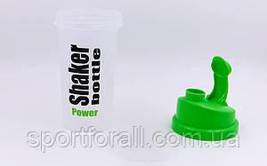 Шейкер для спортивного питания (TS1037) (пластик, 700мл, прозрачный-салатовый)  FI-5055