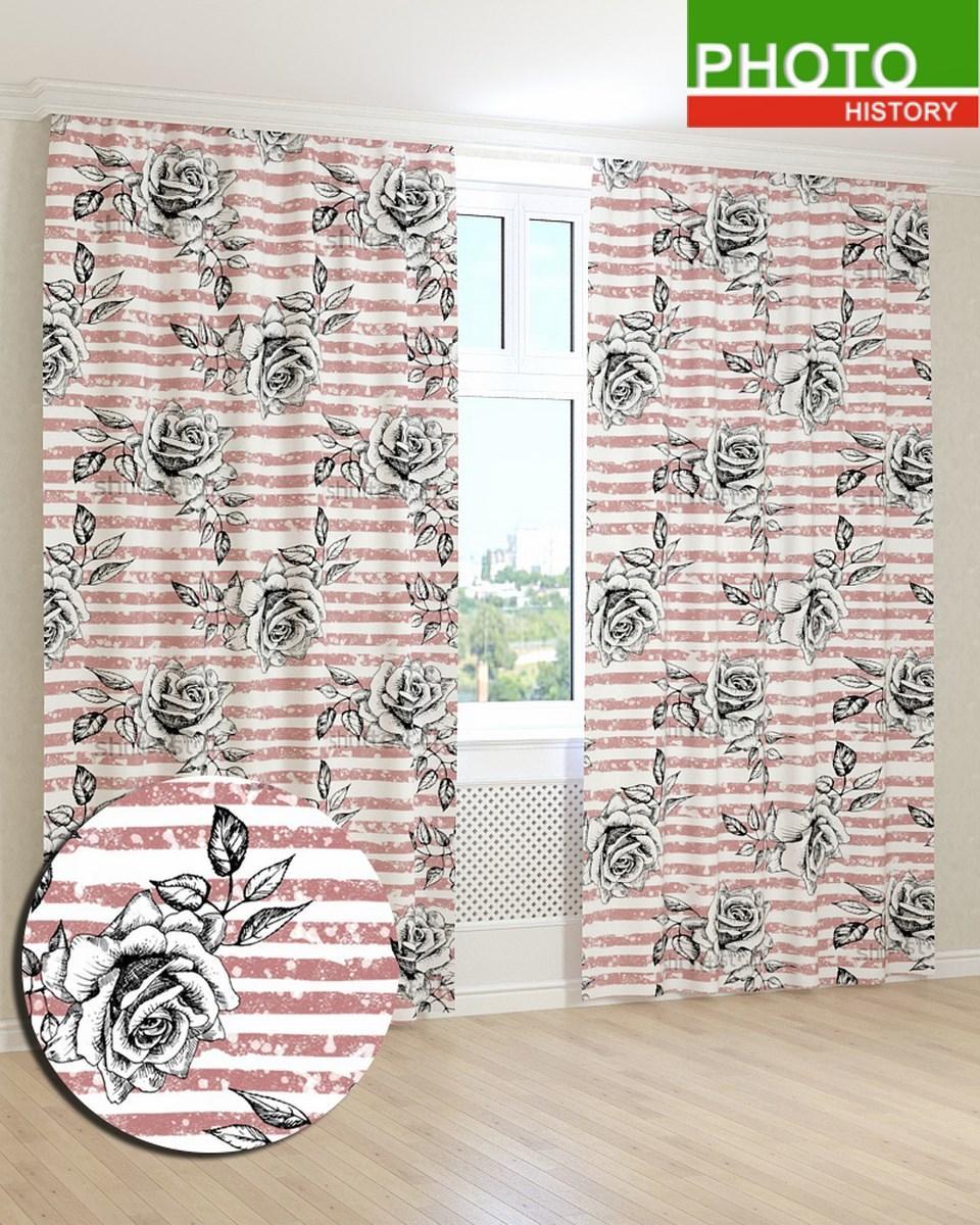 Фотошторы  нарисованные бутоны роз на полосатом фоне
