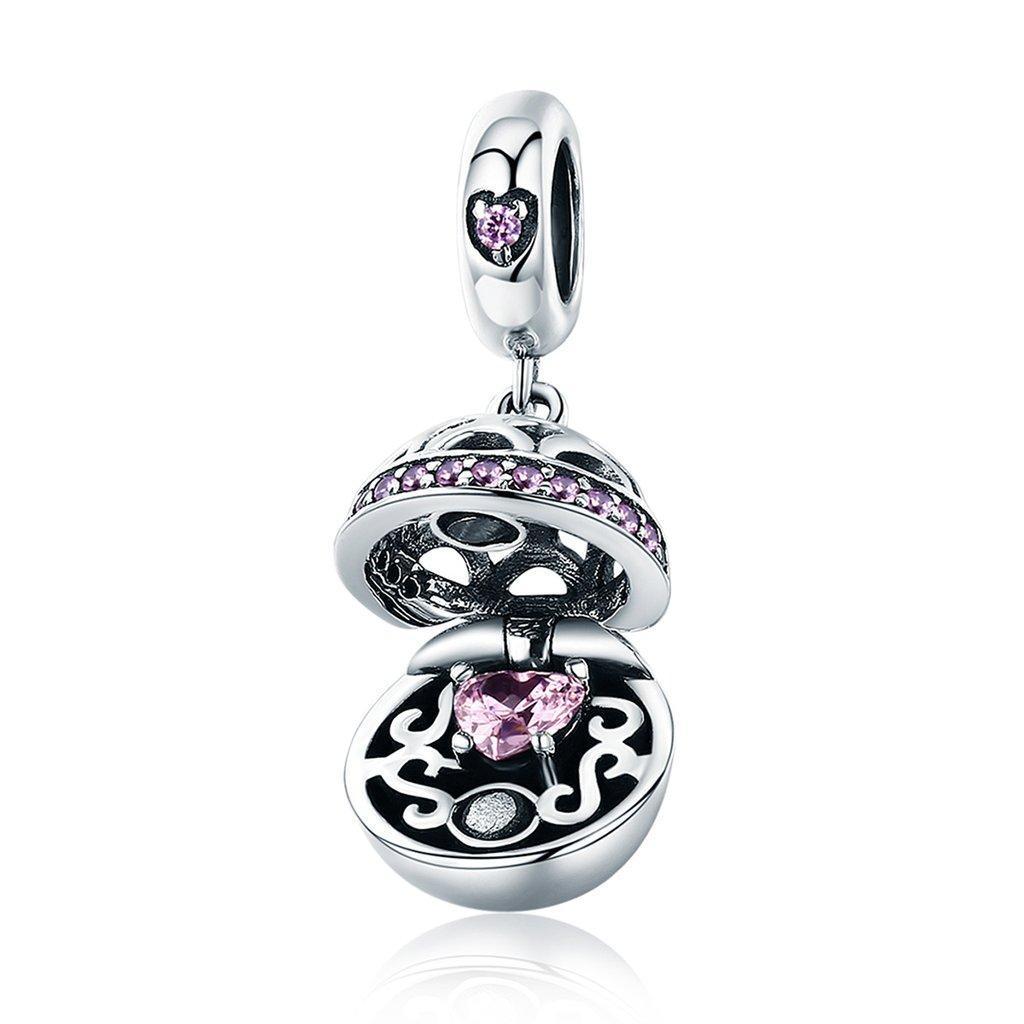 """Шарм Pandora Style (стиль Пандора) """"Сердце"""" с розовым камнем (подвеска)"""