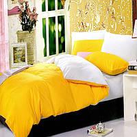 Желто-белое постельное постельное белье. Семейный комплект