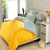 Желто-серое постельное постельное белье. Семейный комплект