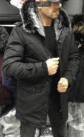 Черная мужская зимняя парка с капюшоном на меху очень теплая - 2XL