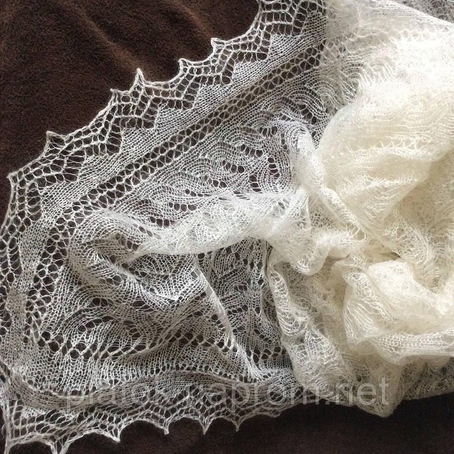 Платокажурный Колосок ш-00042-А, цвет белый, оренбургский пуховый платок