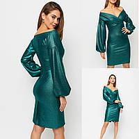 Зелена сукня обягаюча з широким декольте