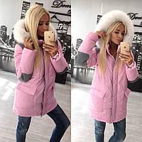 Куртка розовая с мехом на синтапоне размер 42-60