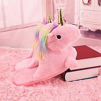Домашние тапочки Единорог с лапками розовые без задника