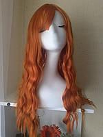 Парик Длинный волнистый рыжий имитация кожи головы с чёлкой 65 см