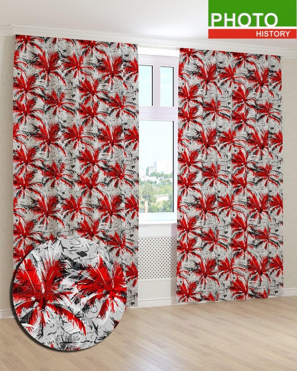 Фотошторы нарисованные красные пальмы