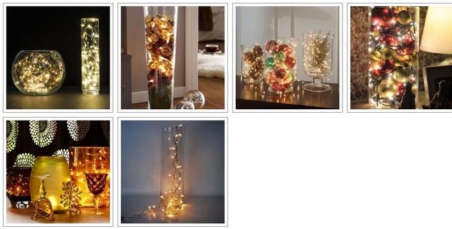 Декоративный светильник из гирлянды и стеклянной вазы