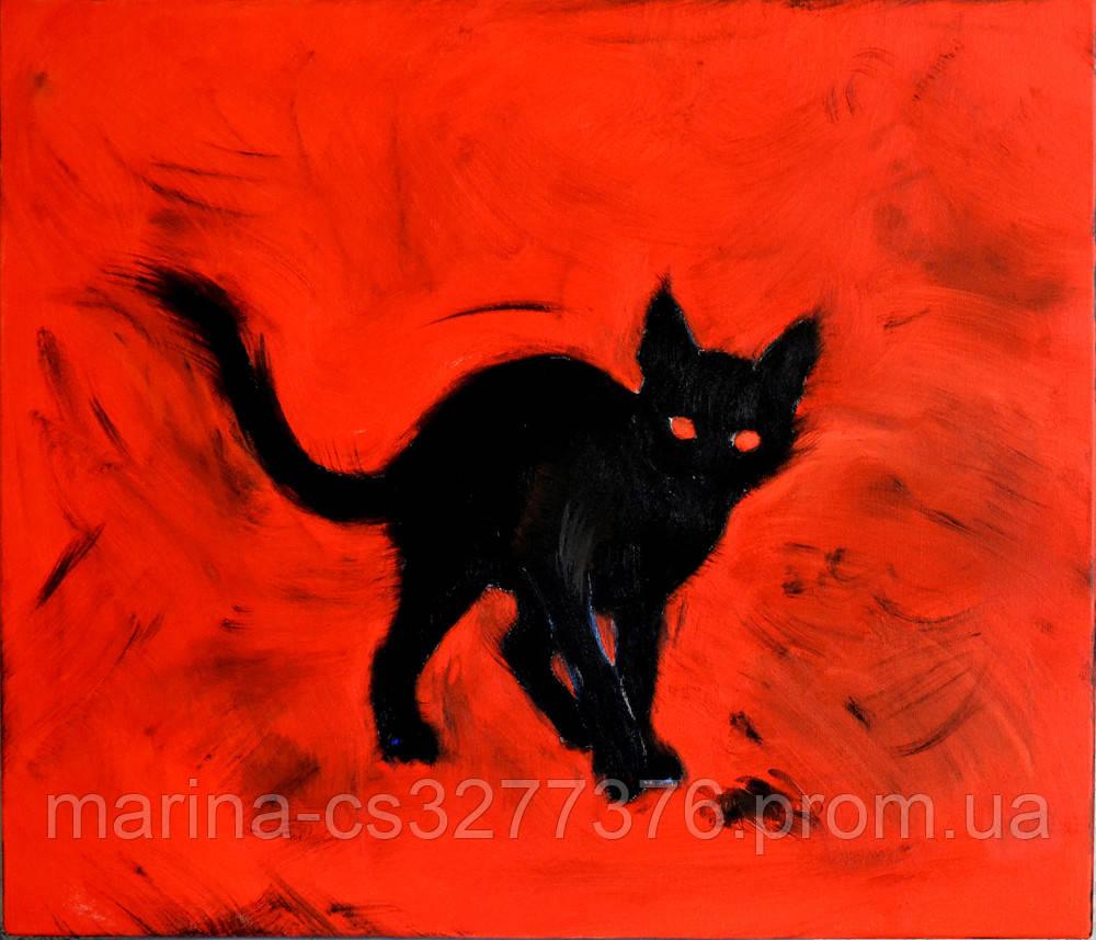 Картина Маленький черный демон 60х70 см холст масло галерейная натяжка современная живопись
