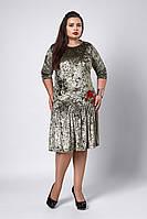 Платье мод №528-1, размеры 52,54,56 оливка