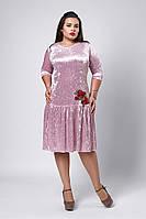 Платье мод №528-5, размеры 52,54,56 светлорозовое