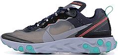 Мужские кроссовки Nike React Element 87 Black Neptune Green | AQ1090-005,  Найк Реакт Елемент