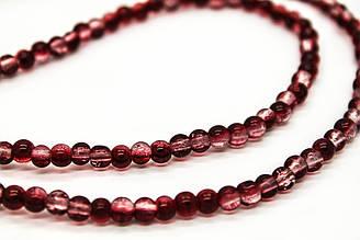 Бусины «Битое стекло», Круглые Цвет: Красный, Диаметр: 6 мм, около 139шт/нить