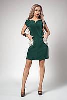 Молодежное летнее однотонное платье длины мини размеры 46,48 бутылочное
