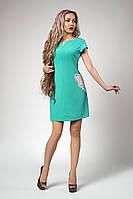 Стильное элегантное женское мдное платье на лето бирюзовое размеры 48
