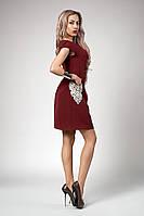 Летнее женское бордовое платье из костюмной ткани с белым кружевом размеры 44,46