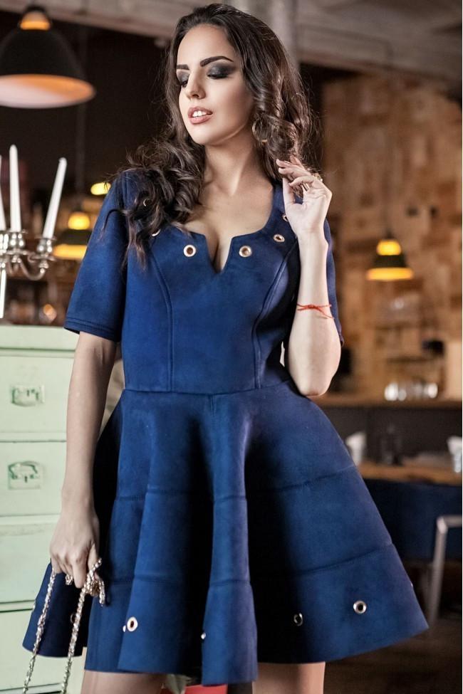 """Модное женское платье приталенного кроя, ткань """"Эко замш"""" 46 размер батал"""