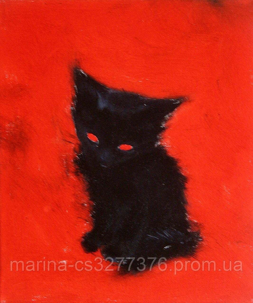 Картина Сонный котеночек, 25х30 см, холст, масло, галерейная натяжка, современная интерьерная живопись