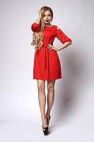 Червона жіноча молодіжне плаття з перфорацією розмір 46