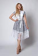 Женственное повседневное платье из натуральной ткани на лето белое в полоску размер 44,46,48